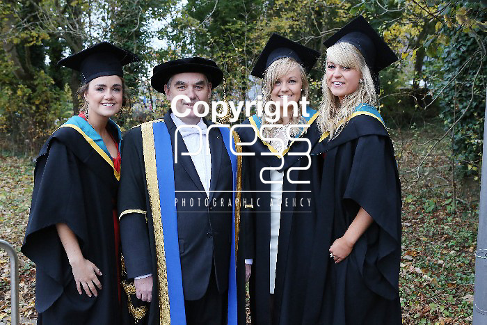 26/10/2012  Repro Free  Attending the Mary Immaculate College Conferrings in Limerick on Friday were Aoife Fallon, Mountbellew, Galway,,Alison Forde, Fermoy  and Meabh Hourihan, Leap, Cork all conferred with a B.Ed photographed with Prof. Michael A. Hayes, President, MIC. Picture Liam Burke/Press 22 With compliments