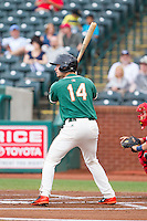 Justin Bohn (14) of the Greensboro Grasshoppers at bat against the Hagerstown Suns at NewBridge Bank Park on May 20, 2014 in Greensboro, North Carolina.  The Grasshoppers defeated the Suns 5-4. (Brian Westerholt/Four Seam Images)
