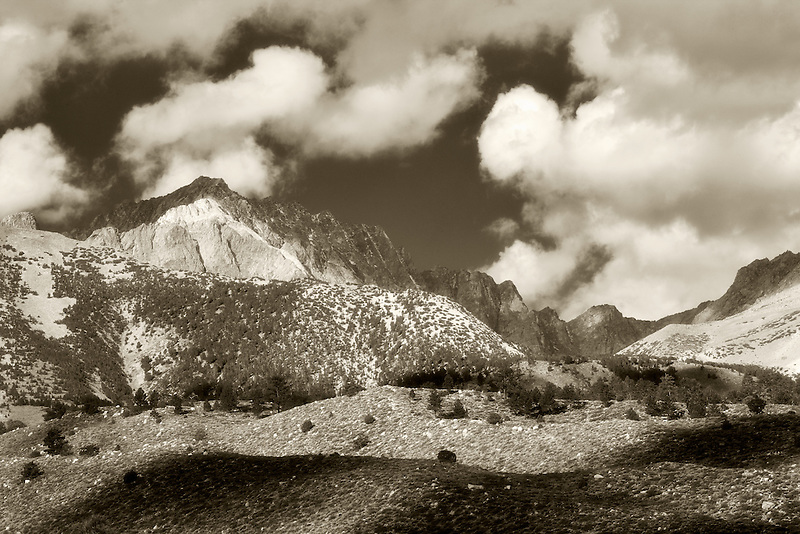 Cloud patterns over mountains. Inyo National Forest. Eastern Sierras. California