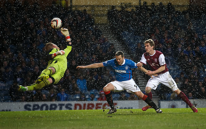 Jon Daly held back by derender Colin Hamilton as he is about to head in and Rangers are awarded a penalty