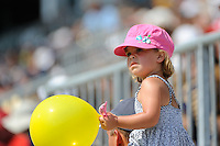 A young fan watches the game from her dad's shoulders. The Philadelphia Union defeated Toronto FC 2-1 on a second half stoppage time goal during a Major League Soccer (MLS) match at PPL Park in Chester, PA, on July 17, 2010.