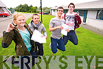 Pictured at Mercy Mounthawk on Wednesday after receiving their Leaving Cert results were, from left: Aine Daly (Tralee) who got four A1s and three A2s and hopes to do medicine in UCC, Brendan O'Connor (Ardfert) who got four A1s, three A2s and one B and hopes to do engineering in UL, Conor O'Mahony (Tralee) who got five A1s, an A2 and a B1 and hopes to do physiotherapy in UL and Michael Grimes (Ardfert) who got five A1s, an A2 and three B3s hopes to do Physics and Chemistry in Trinity.