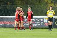 Wilcox of Hartpury RFC (2nd left) celebrates after he scores the winning try during the Greene King IPA Championship match between London Scottish Football Club and Hartpury RFC at Richmond Athletic Ground, Richmond, United Kingdom on 28 October 2017. Photo by David Horn.