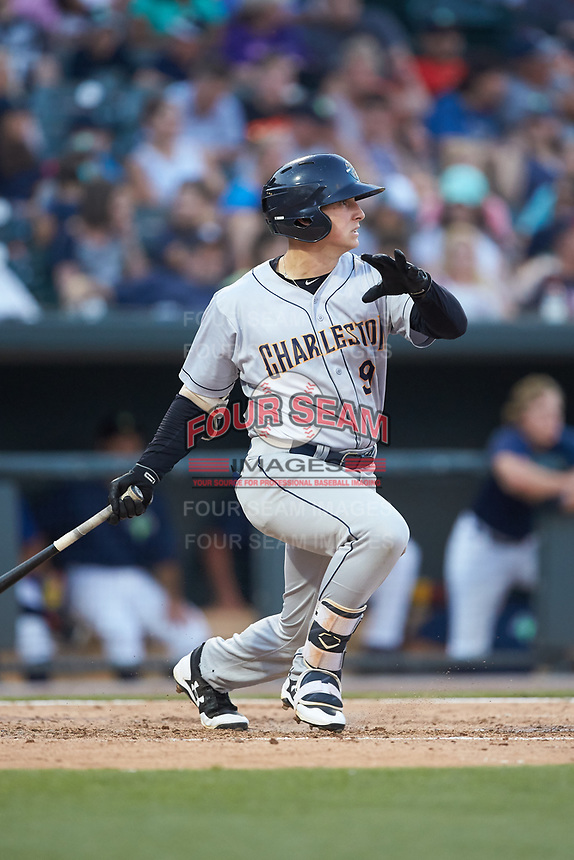 Dalton Blaser (9) of the Charleston RiverDogs follows through on his swing against the Columbia Fireflies at Spirit Communications Park on June 9, 2017 in Columbia, South Carolina.  The Fireflies defeated the RiverDogs 3-1.  (Brian Westerholt/Four Seam Images)