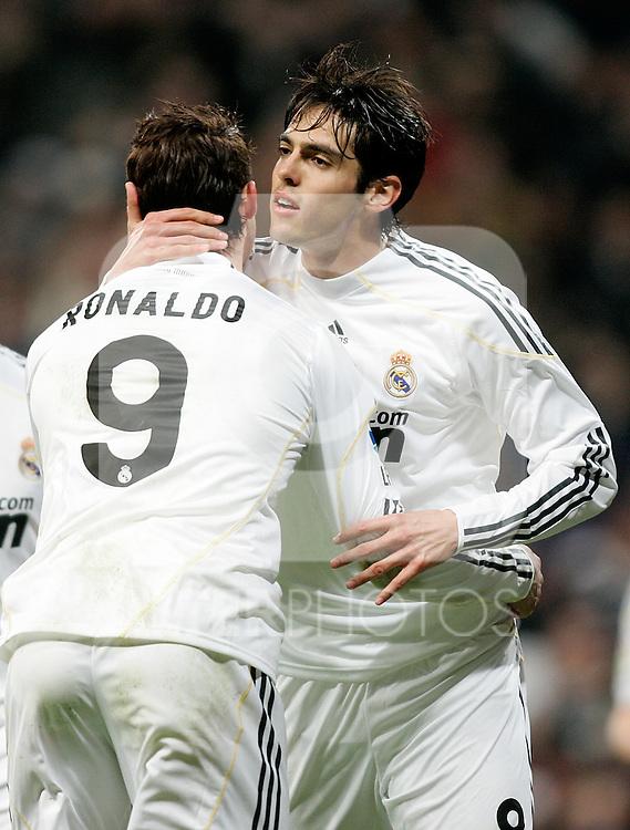 Real Madrid's Cristiano Ronaldo and Kaka celebrate during La Liga match. February 21, 2010. (ALTERPHOTOS/Alvaro Hernandez).