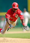 17 June 2006: Alfonso Soriano, left fielder for the Washington Nationals, steals third in the bottom of the eighth inning to help rally and defeat the New York Yankees at RFK Stadium, in Washington, DC. The Nationals overcame a seven run deficit to win 11-9 in the second game of the interleague series...Mandatory Photo Credit: Ed Wolfstein Photo...