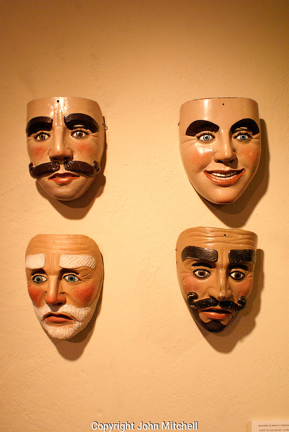 cereminila masks in the Museo de Arte Popular or Museum of Popular Art in San Salvador, El Salvador