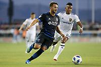 San Jose, CA - Saturday July 28, 2018: Vako, Joao Plata during a Major League Soccer (MLS) match between the San Jose Earthquakes and Real Salt Lake at Avaya Stadium.