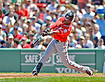 10 June 2012: Washington Nationals outfielder Roger Bernadina in action against the Boston Red Sox at Fenway Park in Boston, MA. The Nationals defeated the Red Sox 4-3 to sweep their 3-game interleague series. Mandatory Credit: Ed Wolfstein Photo