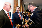 TORRINGTON, CT-121817JS08---  Daniel J. McIntyre, President and Executive Director of Charlotte Hungerford Hospital, left, Jeffrey Flaks, President and COO of Hartford Healthcare, center, and David Whitehead, Executive Vice President Chief Strategy and Transformation with Hartford Healthcare, chat with one another following a signing ceremony that officially turnover Charlotte Hungerford Hospital to Hartford Healthcare Thursday in the Memorial Conference Hall at the hospital in Torrington <br />  Jim Shannon Republican-American