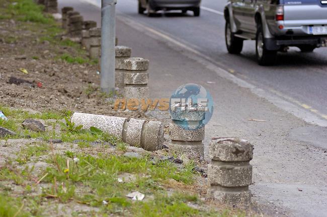 16th May, 2005. Navan voted dirtiest town in Ireland feature..Broken bollards near the centre of Navan..Photo:Barry Cronin/Newsfile.