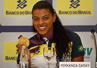 Fernanda Garay Jogadoras da seleção brasileira feminina de vôlei, durante entrevista coletiva nesta SEGUNDA-FEIRA (13)  no Hotel Marriot Guarulhos.FOTO ALE VIANNA/BRAZIL PHOTO PRESS