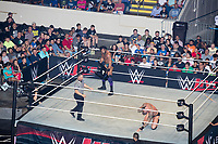 WWE Champion Jinder Mahal (standing, with chair) fights against Randy Orton at a WWE Live Summerslam Heatwave Tour event at the MassMutual Center in Springfield, Massachusetts, USA, on Mon., Aug. 14, 2017. Mahal lost the match.