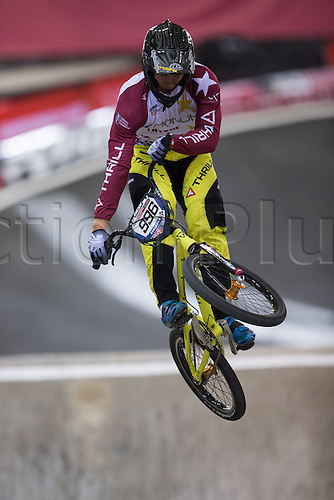 09.04.2016. National Cycling Centre, Manchester, England. UCI BMX Supercross World Cup Day 1. Kristens Krigers in action.