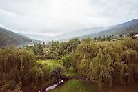 Bhutan, Paro, the grounds of Zhiwa Ling Hotel.