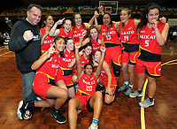 The Waikato team celebrates winning the 2017 national under-19 basketball championship tournament men's final between Canterbury and Waikato at The North Shore Events Centre in Hillcrest, Auckland, New Zealand on Tuesday, 6 June 2017. Photo: Dave Lintott / lintottphoto.co.nz
