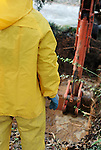 November 27, 2007 Atlanta, Ga USA<br /> <br /> Crewmen work on emergency repairs to a main water supply pipe in a North Atlanta suburb during an area-wide drought.