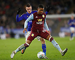 Jamie Vardy of Leicester City and Ezri Konsa of Aston Villa during the Carabao Cup match at the King Power Stadium, Leicester. Picture date: 8th January 2020. Picture credit should read: Darren Staples/Sportimage