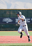 February 24, 2012:   Nevada Wolf Pack runner Joe Kohan heads to third after hitting a triple against the Utah Valley Wolverines during  their NCAA baseball game played at Peccole Park on Friday afternoon in Reno, Nevada.
