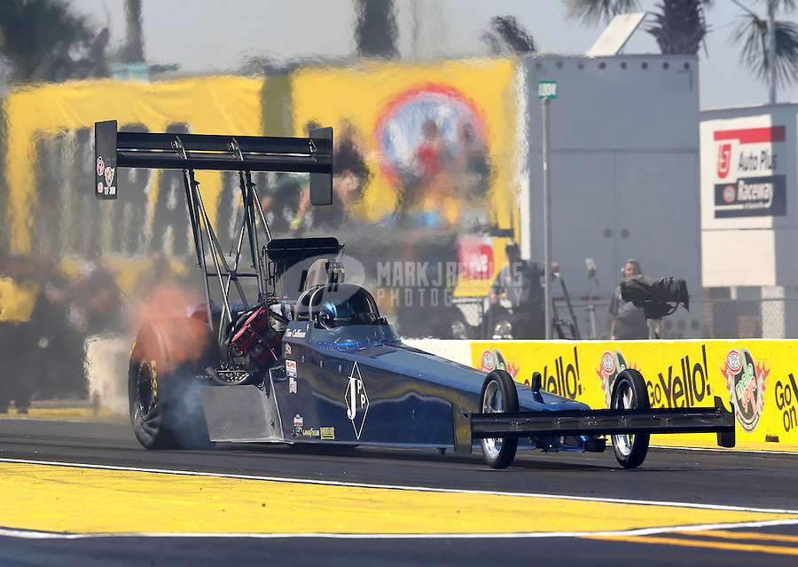 Mar. 15, 2013; Gainesville, FL, USA; NHRA top fuel dragster driver Tim Cullinan during qualifying for the Gatornationals at Auto-Plus Raceway at Gainesville. Mandatory Credit: Mark J. Rebilas-