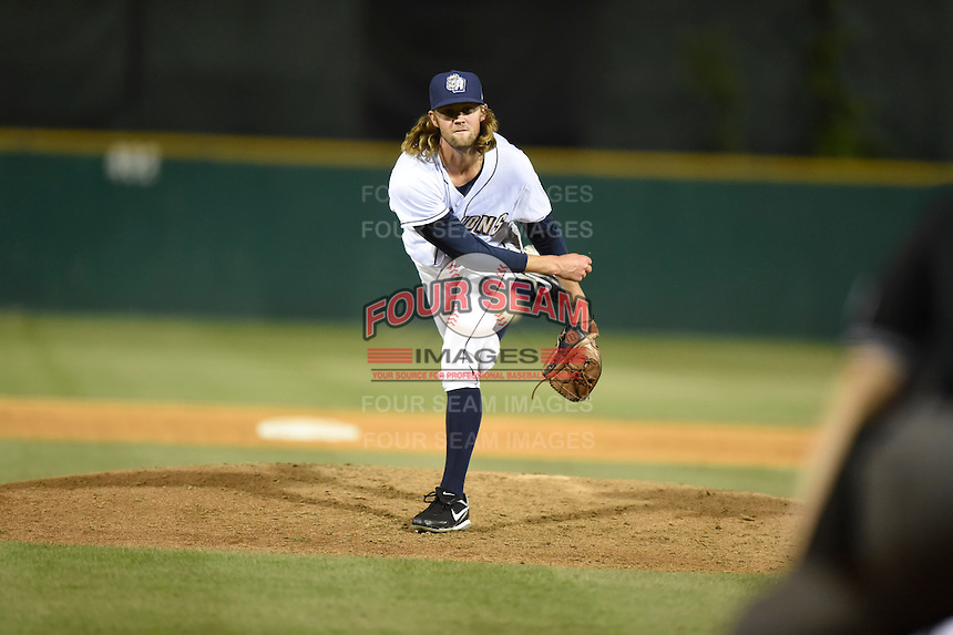***Temporary Unedited Reference File***San Antonio Missions relief pitcher Adam Cimber (23) during a game against the Midland RockHounds on April 22, 2016 at Nelson W. Wolff Municipal Stadium in San Antonio, Texas.  San Antonio defeated Midland 8-4.  (Mike Janes/Four Seam Images)