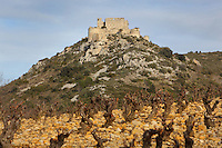 "Aguilar Castle, Chateau d'Aguilar, Cathar Castle, Tuchan, Corbieres, Aude, France. The castle consists of an inner keep built in the 12th century, surrounded by an outer pentagonal fortification from the 13th century with semi-circular guard towers, and is one of the ""Five Sons of Carcassonne"" or ""cinq fils de Carcassonne"". It is a listed monument historique. View showing hilltop location taken from vineyard of pruned winter vines. Picture by Manuel Cohen"