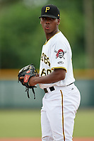 GCL Pirates relief pitcher Wilmer Contreras (60) gets ready to deliver a pitch during the second game of a doubleheader against the GCL Yankees East on July 31, 2018 at Pirate City Complex in Bradenton, Florida.  GCL Pirates defeated GCL Yankees East 12-4.  (Mike Janes/Four Seam Images)