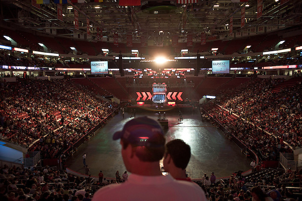 """Sunday, June 24, Raleigh, North Carolina..California evangelist Greg Laurie, brought his """"Harvest Crusade"""" to the RBC Center in Raleigh, NC for 3 days of music. prayer and Christian evangelism. Laurie brought together 200 local churches to sponsor the event which used 3000 volunteers and hopes to convert many newcomers to his version of born again Christianity.. The RBC Center."""