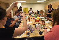 NWA Democrat-Gazette/FLIP PUTTHOFF <br /> Teachers work on weaving projects Wednesday June 6 2018 at Maker Camp.