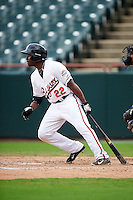 Bowie Baysox right fielder Quincy Latimore (22) at bat during the first game of a doubleheader against the Akron RubberDucks on June 5, 2016 at Prince George's Stadium in Bowie, Maryland.  Bowie defeated Akron 12-7.  (Mike Janes/Four Seam Images)