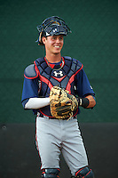 GCL Braves catcher Collin Yelich (30) in the bullpen during a game against the GCL Phillies on August 3, 2016 at the Carpenter Complex in Clearwater, Florida.  GCL Phillies defeated GCL Braves 4-3 in a rain shortened six inning game.  (Mike Janes/Four Seam Images)