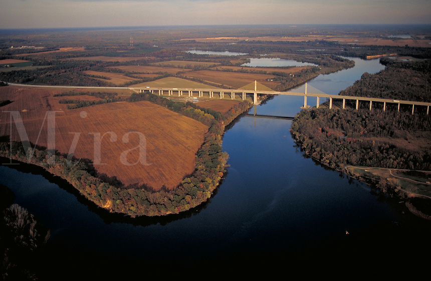 Aerial of the I-295 (Enon-Varina) Bridge over the James River. Henrico County is on left, Chesterfield County on right. Roads, Bridges, Transportation. Richmond VA USA.