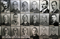 Photographs of prisoners who died in the Auschwitz Nazi concentration camp. It is estimated that between 1.1 and 1.5 million Jews, Poles, gypsies and others were killed here in the Holocaust between 1940-1945.