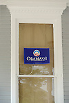 Porch window with Obama 08' poster.