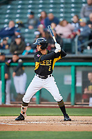 Bo Way (2) of the Salt Lake Bees bats against the Sacramento River Cats at Smith's Ballpark on April 12, 2019 in Salt Lake City, Utah. The River Cats defeated the Bees 4-2. (Stephen Smith/Four Seam Images)