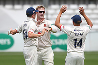 Simon Harmer of Essex celebrates taking the wicket of Steve Davies during Essex CCC vs Somerset CCC, Specsavers County Championship Division 1 Cricket at The Cloudfm County Ground on 25th June 2019