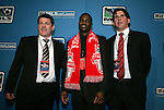 15 January 2009: O'Brian White was taken with the fourth overall pick by Toronto FC. With head coach John Carver (left) and assistant coach Nick Dasovic (right). The 2009 Major League Soccer SuperDraft was held at the Convention Center in St. Louis, Missouri in conjuction with the National Soccer Coaches Association of America's annual convention.