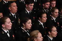 A U.S. Navy chorus sings during memorial ceremonies for former President George H.W. Bush in the U.S. Capitol Rotunda in Washington, U.S., December 3, 2018. <br /> CAP/MPI/RS<br /> &copy;RS/MPI/Capital Pictures