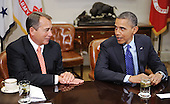 United States President Barack Obama, right, meets with a bipartisan group of congressional leaders including Speaker of the U.S. House John Boehner (Republican of Ohio), left, in the Roosevelt Room of the White House on November 16, 2012 in Washington, DC. .Credit: Olivier Douliery / Pool via CNP