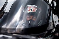 Sept. 1, 2013; Clermont, IN, USA: NHRA top fuel dragster driver Billy Torrence during qualifying for the US Nationals at Lucas Oil Raceway. Mandatory Credit: Mark J. Rebilas-