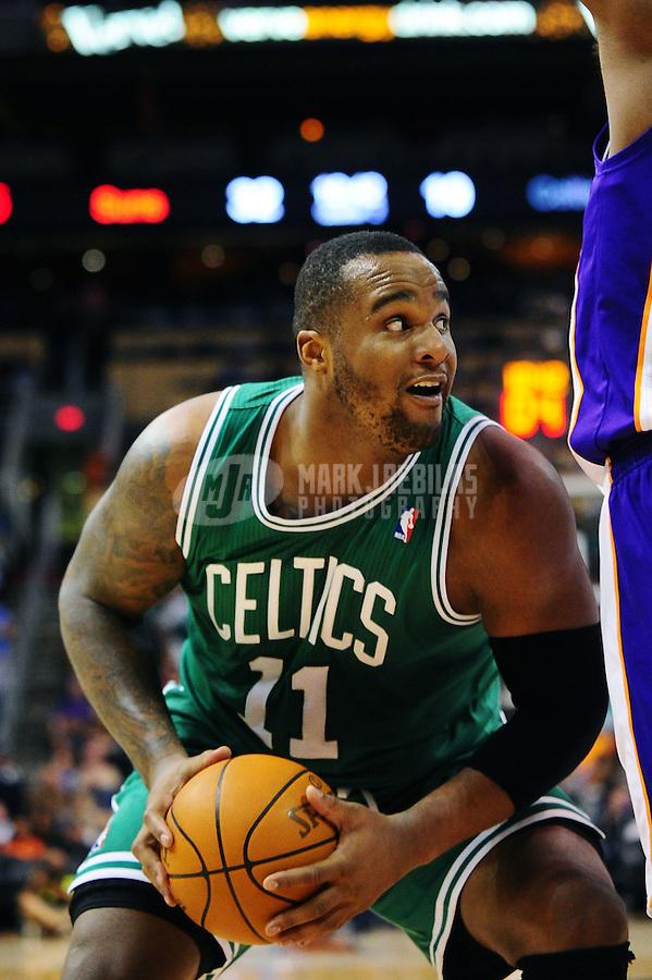 Jan. 28, 2011; Phoenix, AZ, USA; Boston Celtics forward Glenn Davis against the Phoenix Suns at the US Airways Center. Mandatory Credit: Mark J. Rebilas-