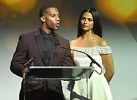 NEW YORK, NY - NOVEMBER 02:  Victor Cruz and Camilia Alves speak onstage during the Samsung annual charity gala 2017 at Skylight Clarkson Square on November 2, 2017 in New York City.  Credit:  George Napolitano/MediaPunch /NortePhoto.com