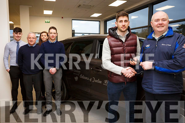 Kerry senior footballer Paul Geaney receives the keys to his new 181 from Noel O'Connor of Adams Garage Tralee, also pictured are back l to r, Oisin Shannon, Donnie Shine, Jennifer Twomey and Liam Shannon