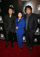 11 January 2020 - Century City, California - Song Kang Ho, Lee Jeong-eun, Bong Joon Ho. 2020 Los Angeles Critics Association (LAFCA) Awards Ceremony held at the InterContinental Los Angeles Century City. Photo Credit: FS/AdMedia