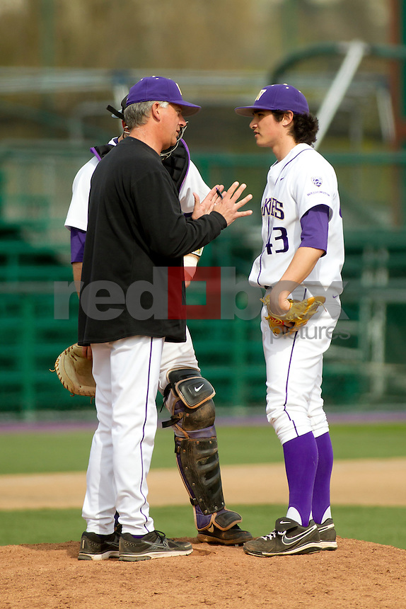 The University of Washington baseball team competes against Gonzaga University at Husky Ballpark  in Seattle, Wash. on Tuesday April 10, 2012.(Photo by Scott Eklund /Red Box Pictures) Joshua Fredendall. Dave Dangler.