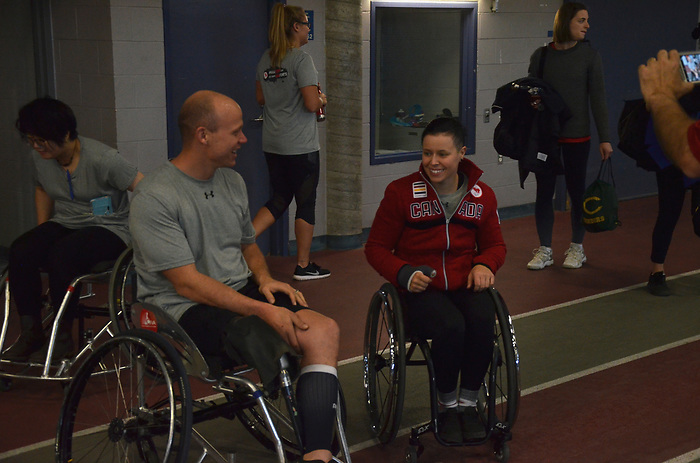 NOVEMBER 15, 2018: MONTREAL, QC, Cindy Ouellet and Alex Dupont at Paratough Cup, which was held at McGill University, with 14 corporate teams competing for the prize.