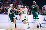 Real Madrid Sergio Llull and Panathinaikos Nick Calathes and Chris Singleton during Turkish Airlines Euroleague Quarter Finals 4th match between Real Madrid and Panathinaikos at Wizink Center in Madrid, Spain. April 27, 2018. (ALTERPHOTOS/Borja B.Hojas)