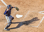 23 August 2015: Milwaukee Brewers catcher Jonathan Lucroy in action against the Washington Nationals at Nationals Park in Washington, DC. The Nationals defeated the Brewers 9-5 in the third game of their 3-game weekend series. Mandatory Credit: Ed Wolfstein Photo *** RAW (NEF) Image File Available ***