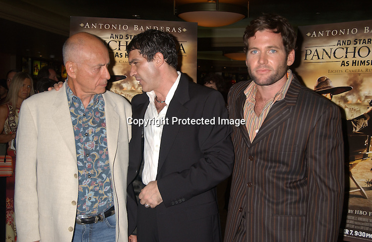 "..Alan Arkin, Antonio Banderas and Eion Bailey..at the New York Screening of The HBO film "" And Starring ..Pancho Villa As Himself"" on August 18,2003 at the Loew's 34th Street Theatre.  Photo by Robin Platzer, Twin Images"