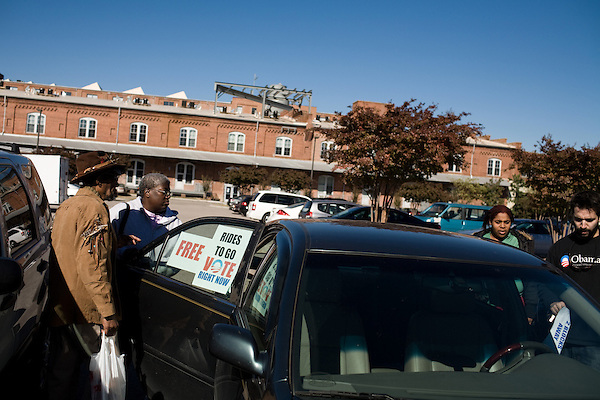 October 31, 2008. Durham, NC..As election day draws near, the electoral ground game in the contested state of North Carolina is going strong.. Nick Hawthorne-Johnson, 29, has been collecting voters from the city bus depot and driving them to a nearby early voting site. He is not a worker, nor volunteer for either campaign.